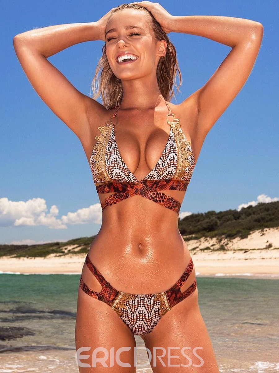 Ericdress 3D Snakeskin Print Hollow Bikini Set