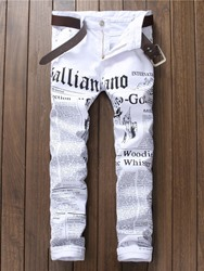 Ericdress White Denim Letter Print Vogue Slim Mens Jeans фото