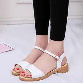 Ericdress PU Open Toe Flat Sandals