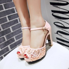 Ericdress Peep Toe Lace Patchwork Chunky Sandals