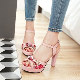 Ericdress Floral Peep Toe Chunky Sandals
