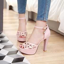 Ericdress Hollow Peep Toe Chunky Sandals