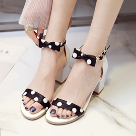 Ericdress Sweet Open Toe Polka Dot Chunky Sandals