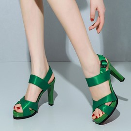 Ericdress Cowhells Ankle Strap Chunky Sandals