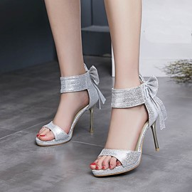 Ericdress Open Toe Plain Stiletto Sandals with Bowknot