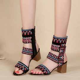 Ericdress Open Toe Floral Chunky Sandals