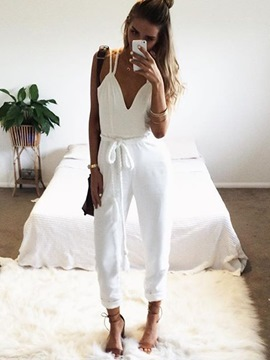 Ericdress Backless Lace-Up White Jumpsuits Pants