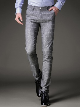 Ericdress Pocket Plaid Slim Vogue Men's Pants