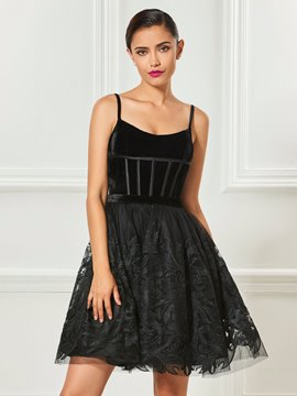 Ericdress A Line Spaghetti Straps Applique Lace Short Cocktail Dress