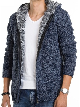 Ericdress Thicken with Velvet Zip Warm Casual Men's Knitwear