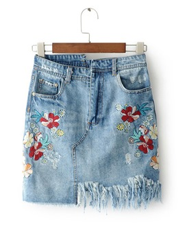 Ericdress Asymmetric Embroidery Denim Skirts