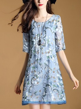 Ericdress Floral Print Scoop Half Sleeves Casual Dress