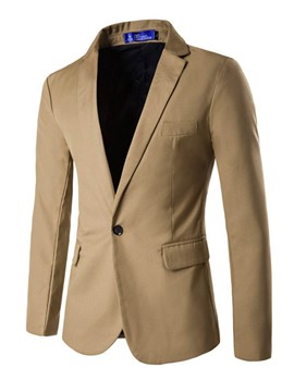 Ericdress Plain Pocket One Button Notched Lapel Slim Men's Blazer