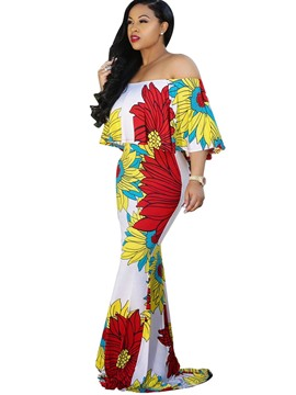 Ericdress Print Half Sleeves Slash Neck Maxi Dress