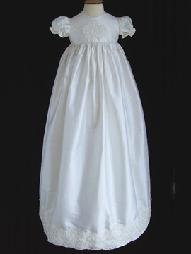 Ericdress Jewel Short Sleeves A Line Applqiues Christening Dress