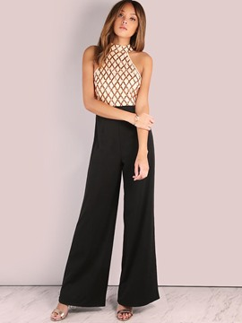 Ericdress Patchwork Bellbottoms Jumpsuits Pants