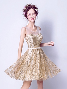 Ericdress A Line Short Sequin Homecoming Dress With Bowknot