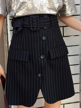 Ericdress Belt Stripe Button Usual Skirts