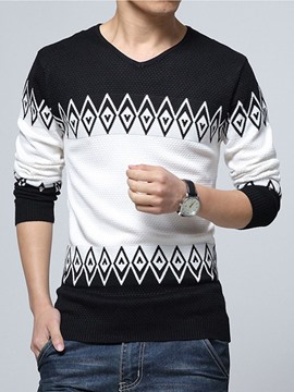 Ericdress Color Block Jacquard V-Neck Slim Men's Sweater