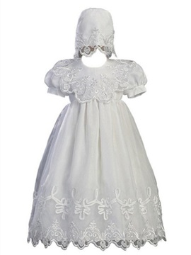 Ericdress Jewel Appliques Ball Gown Short Sleeves Christening Dress