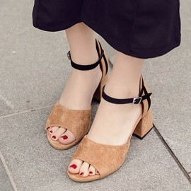 Ericdress Peep Toe Color Block Chunky Sandals