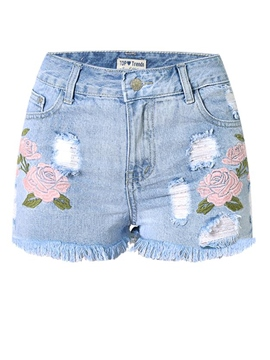 Ericdress EmbroideryTassel Denim Shorts Pants
