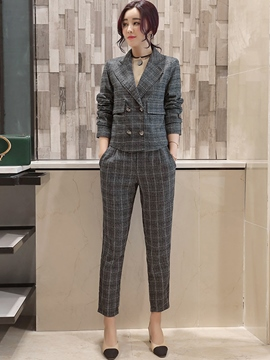 EricdressNotched Lapel Long Sleeves Plaid Women Suits