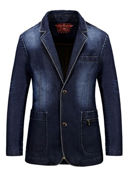 Ericdress Pocket Denim Casual Slim Men's Blazer