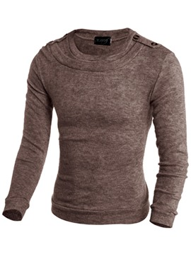 Ericdress Vogue Patched Plain Crew Neck Men's Sweater
