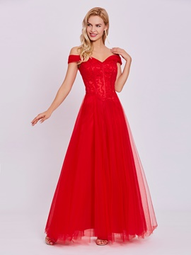 off-the-shoulder Spitze ein Linie Abendkleid