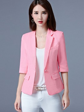 Ericdress Slim Plain Three-Quarter Blazer