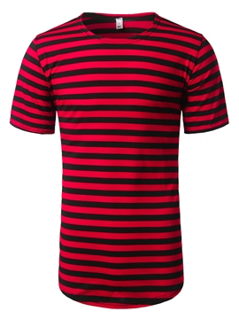 Ericdress Short Sleeve Stripe Mid-Length Casual Men's T-Shirt