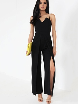 Ericdress Asymmetric Backless Wide Legs Jumpsuits Pants