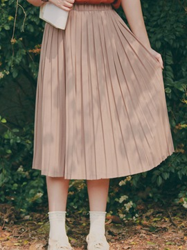 Ericdress Plain Pleated Chiffon Skirts