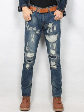 Ericdress Denim Löcher gerade Casual Herren Hose