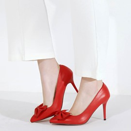 Ericdress Pointed Toe Plain Stiletto Pumps with Bowtie