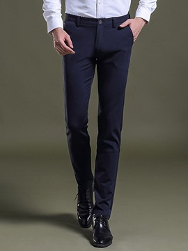 Ericdress Plain Mid-Waist Casual Slim Men's Pants