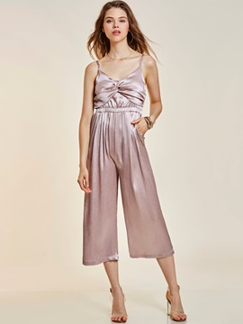Ericdress Braces Pleated Wide Legs Women's Jumpsuit
