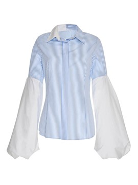 Ericdress Patchwork Stripe Lapel Blouse