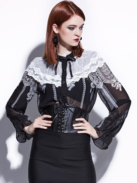 Ericdress Flare Sleeve Single-Breasted Lace Patchwork Blouse