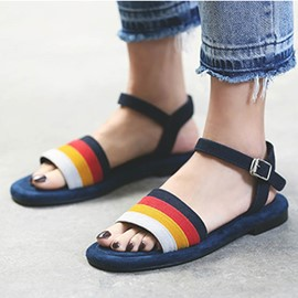 Ericdress Open Toe Rainbow Stripe Flat Sandals