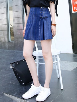 Ericdress Asymmetric Lace-Up Stripe Usual Skirts