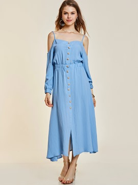 Ericdress Cold -the- Shoulder Single-Breasted Women's Maxi Dress