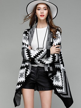 Ericdress Geometric Cardigan Mid-Length Knitwear