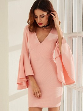 Ericdress V-Neck Bell Sleeve Above Knee Bodycon Dress