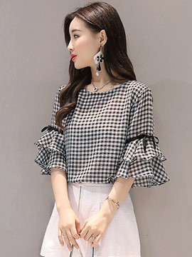 Ericdress Short Plaid Bell Sleeve T-shirt
