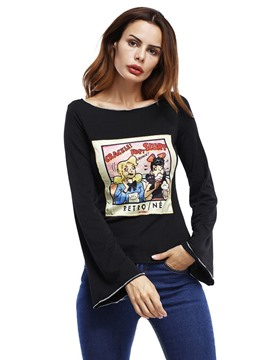 EricdressPrint Animal Bell Sleeve T-shirt