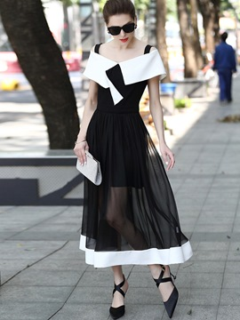 Ericdress Color Block See-Through Patchwork Maxi Dress