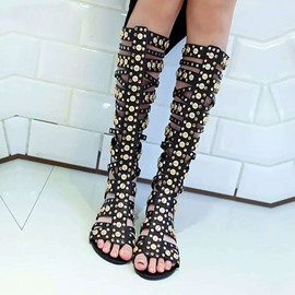 High Shaft Rivet Flat Sandals