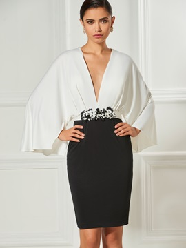 Ericdress Sheath Long Sleeve V Neck Cocktail Dress